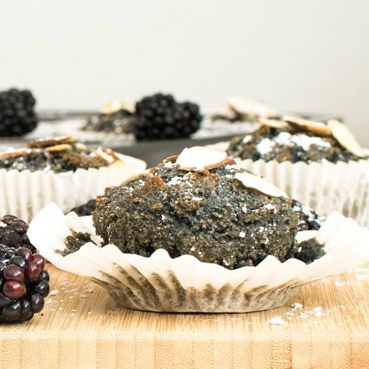 Vegan Blackberry Muffins (oil free) on a wooden board