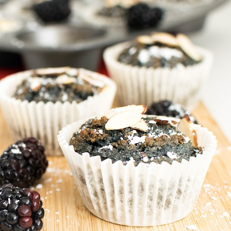 A front view of vegan blackberry muffins (oil free)