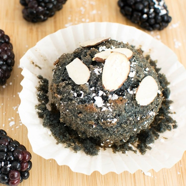 A close up view of vegan blackberry muffins (oil free)
