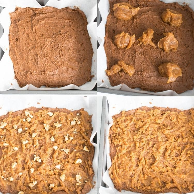 steps to swirl and bake sweet potato brownies with chickpea flour