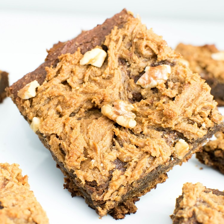close up view of sweet potato brownies with chickpea flour