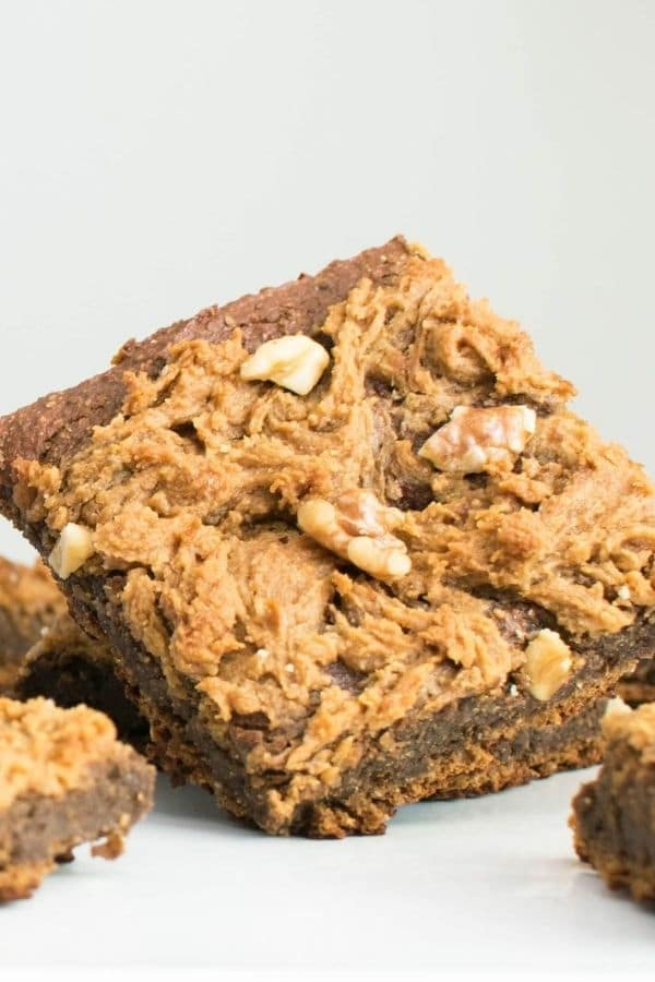 A front angle close up of sweet potato brownies with chickpea flour