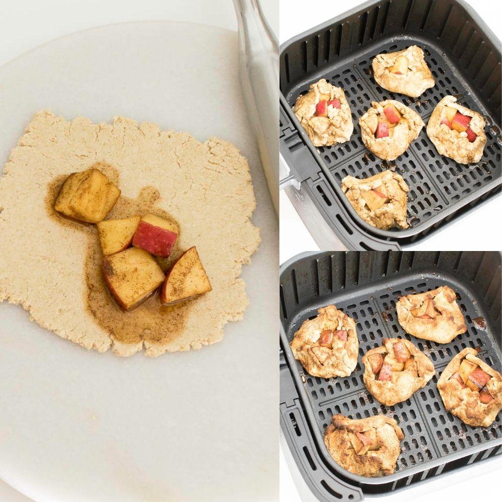 steps to air fry the apple dumplings.