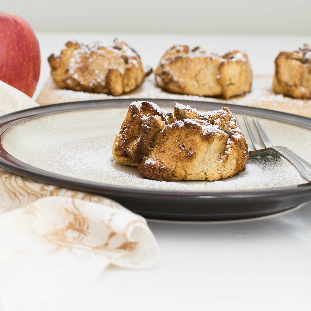 a front view of air fryer apple dumplings recipe.