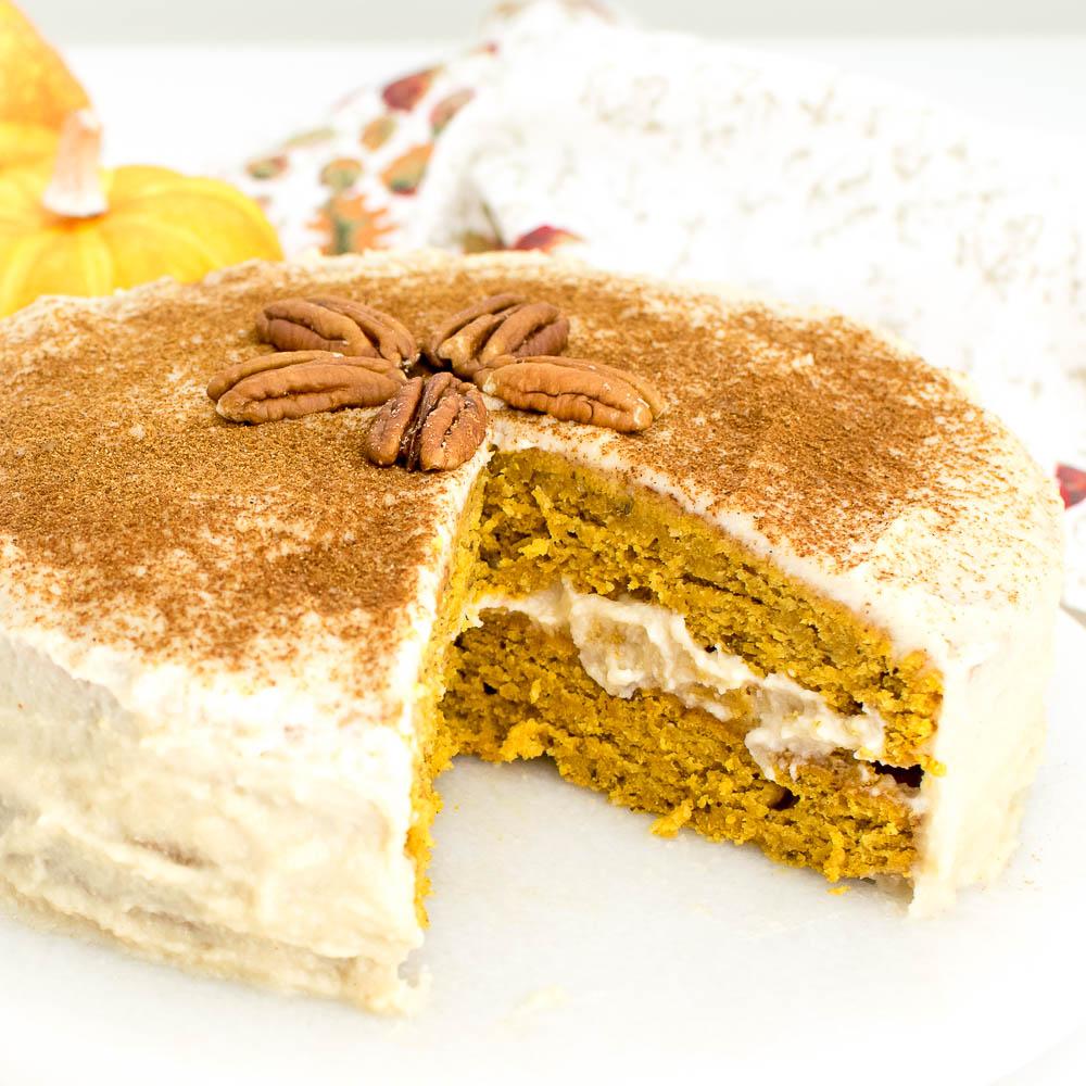 half cut pumpkin cake recipe with quinoa flour.