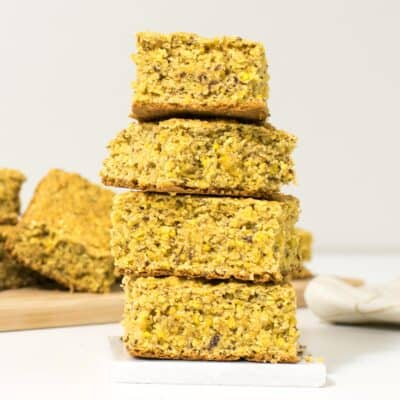 a front view of stacked vegan cornbread.