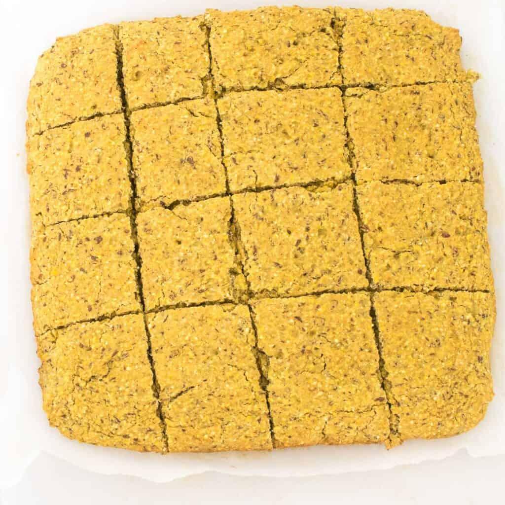 full view of vegan cornbread sliced.