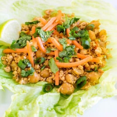 Tofu Chickpeas Lettuce Wraps served in a large serving plate