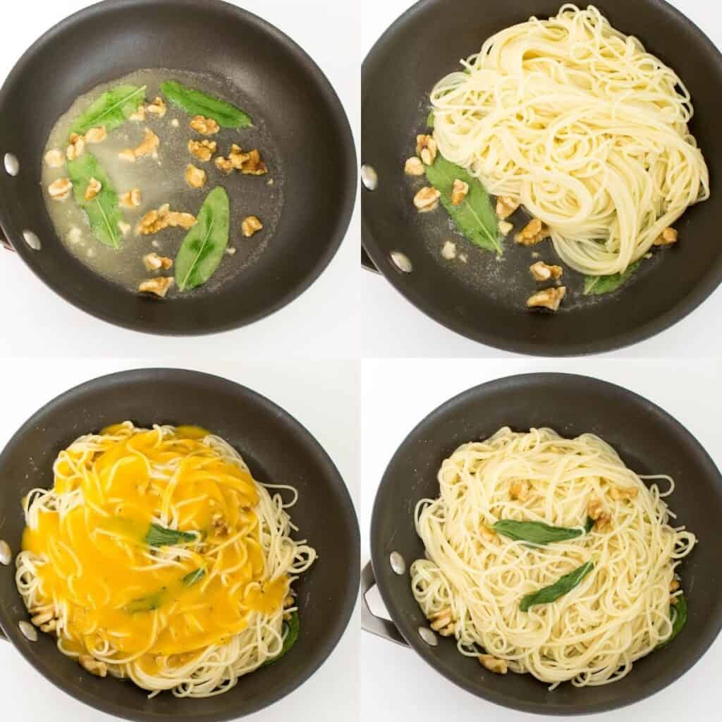 steps to toss angel hair pasta.