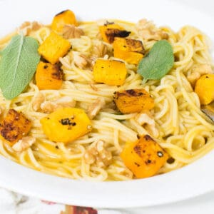 a close up view of butternut squash pasta.
