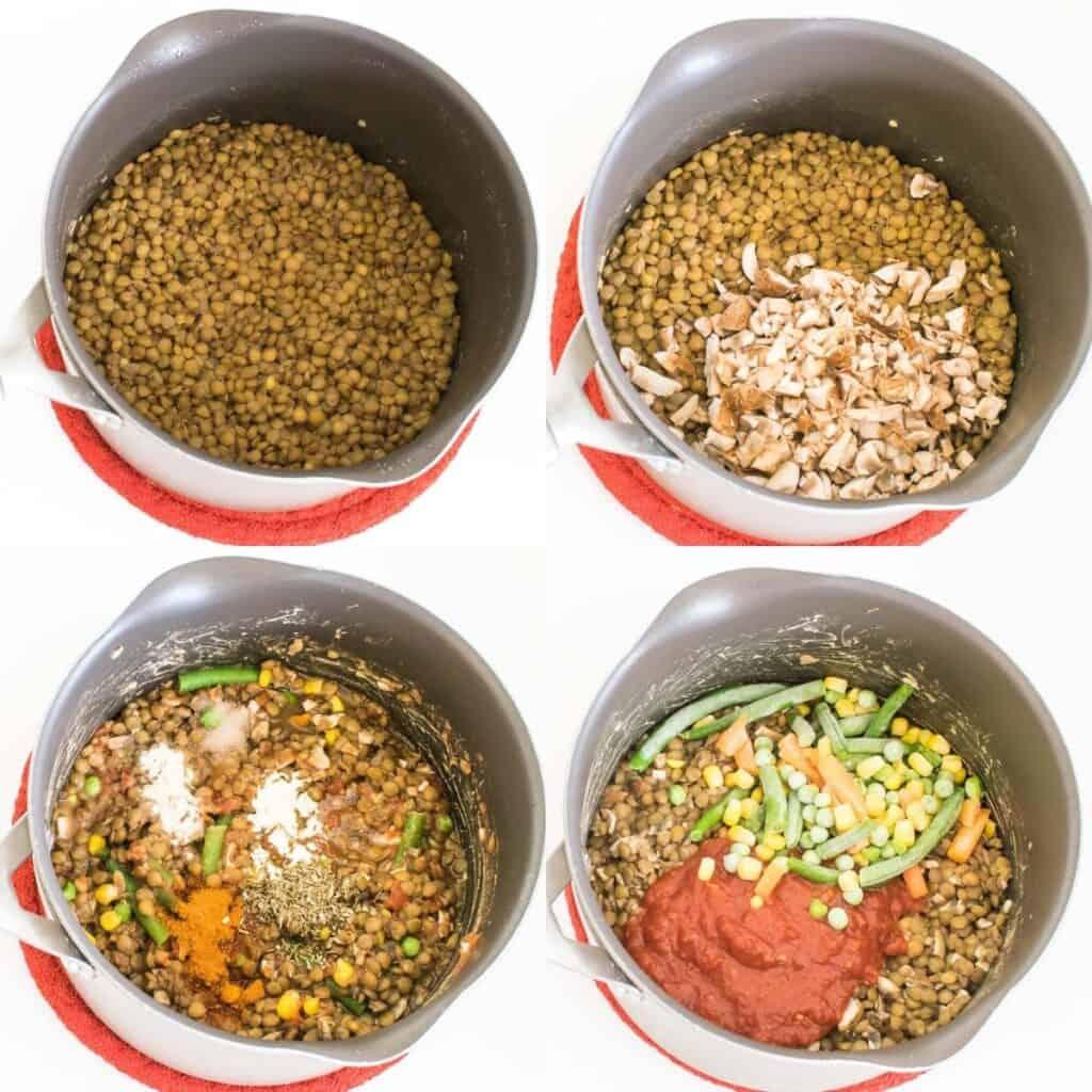steps to cook lentils.