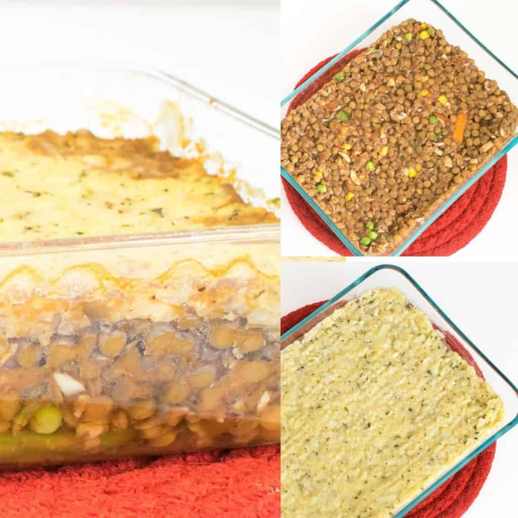 steps to layer the recipe in the baking dish.