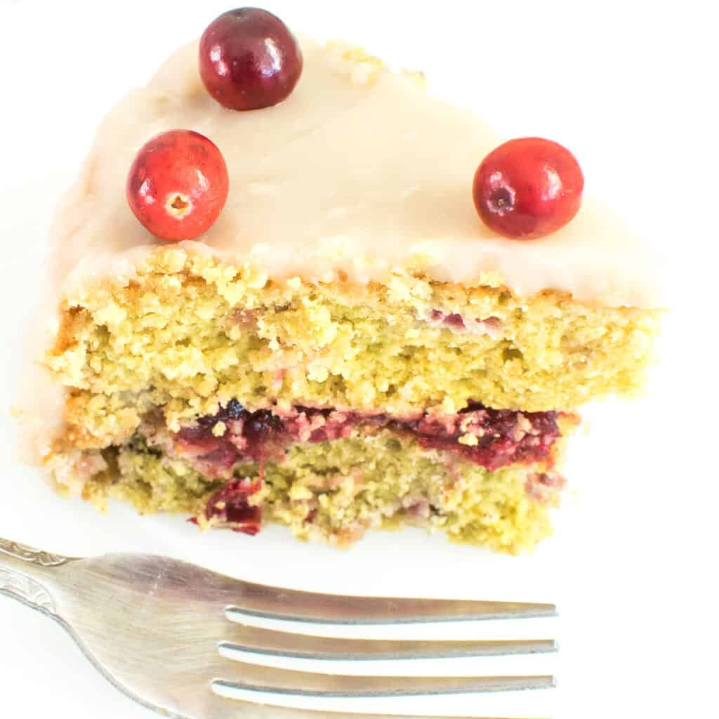 a close up view of a slice of cranberry cake.