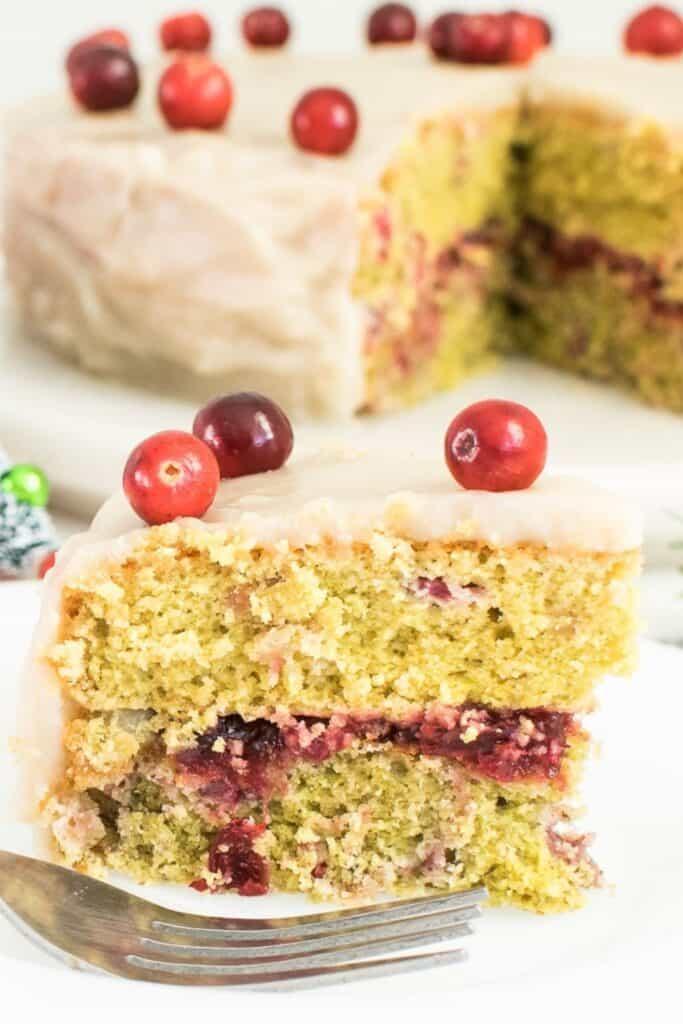 sliced cranberry cake.