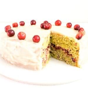half eaten cranberry cake.
