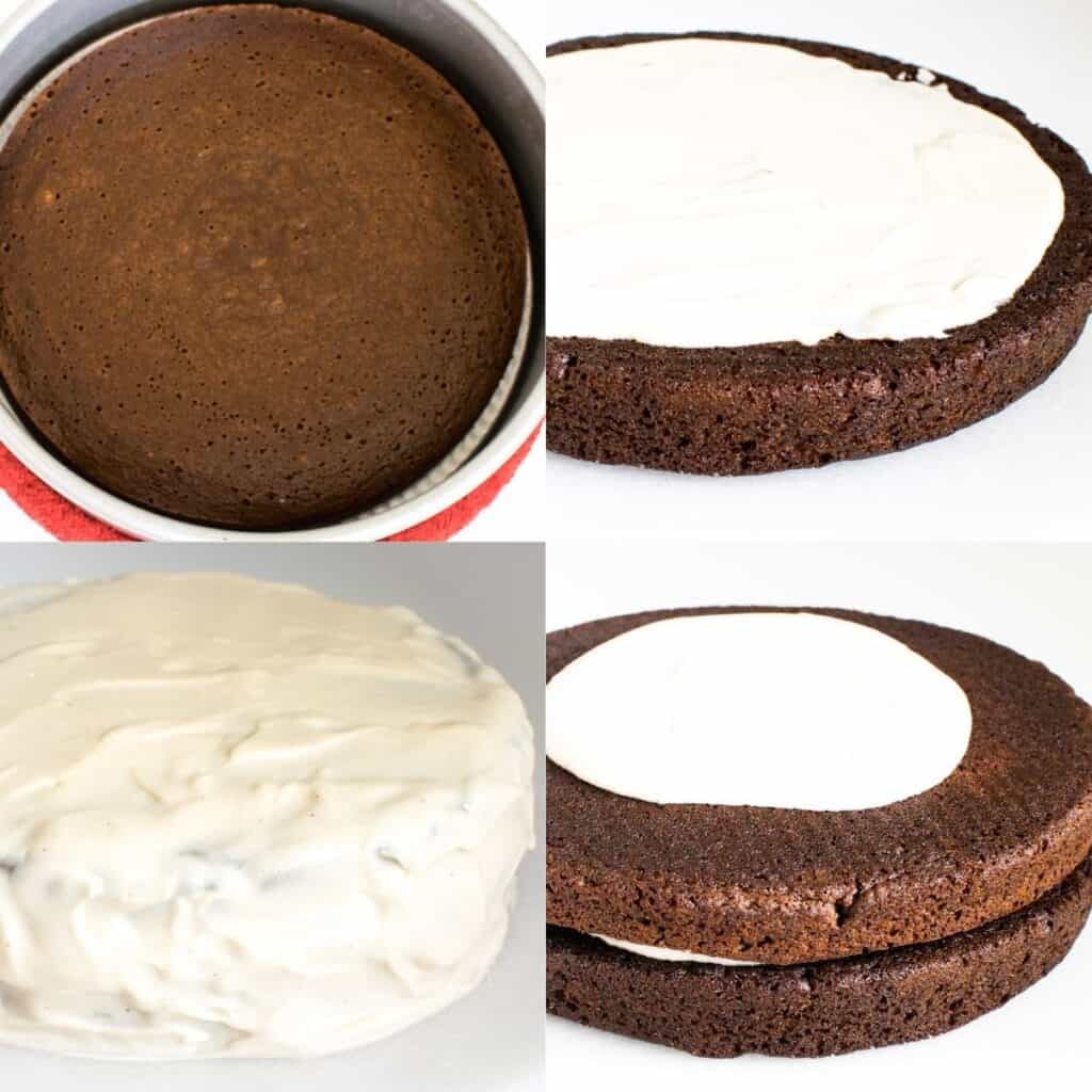 steps to layer and cover it with icing.