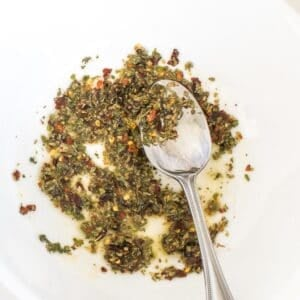 the spices with oil in a mixing bowl.