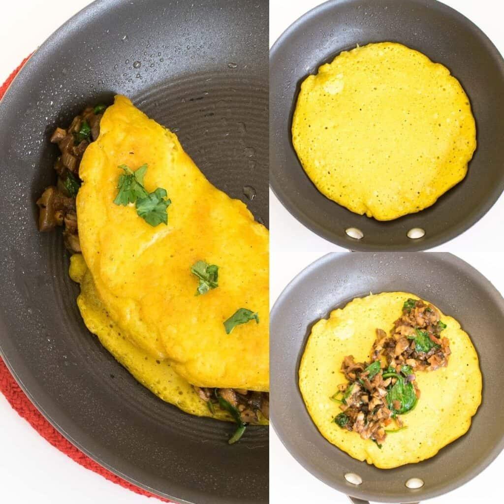 steps to cook vegan omelette.