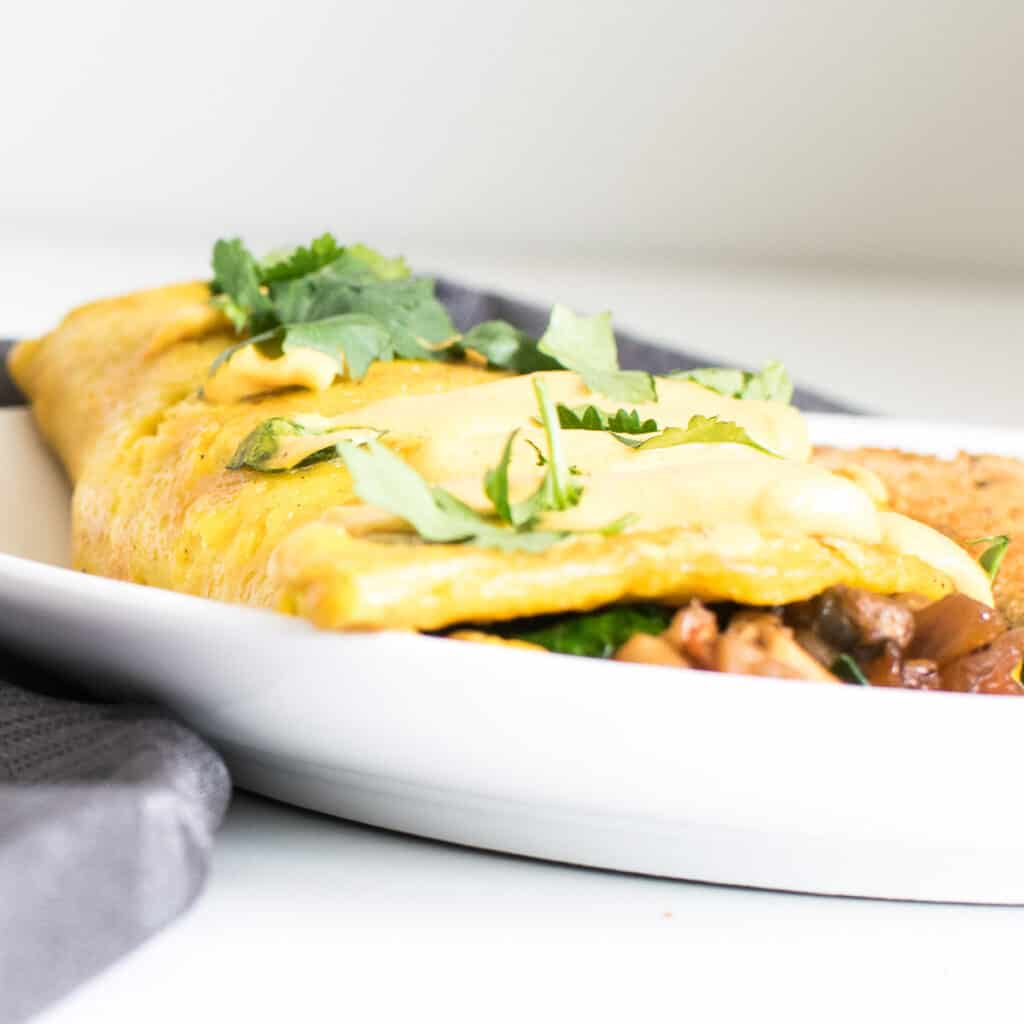 a front view of vegan omelette.
