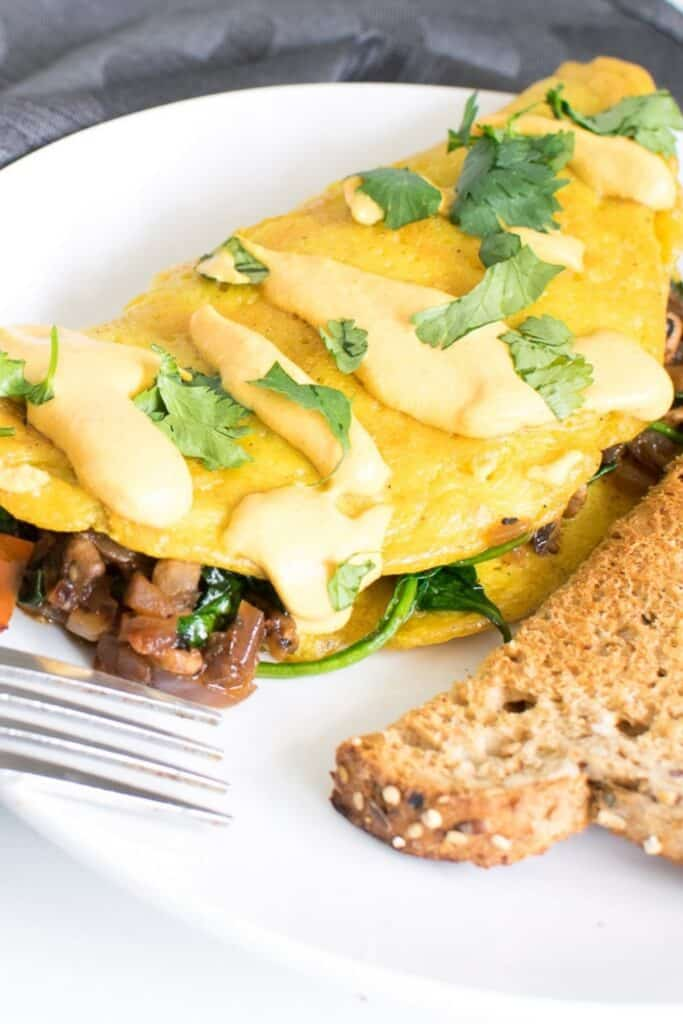 a 45 degree angle view of vegan omelette.