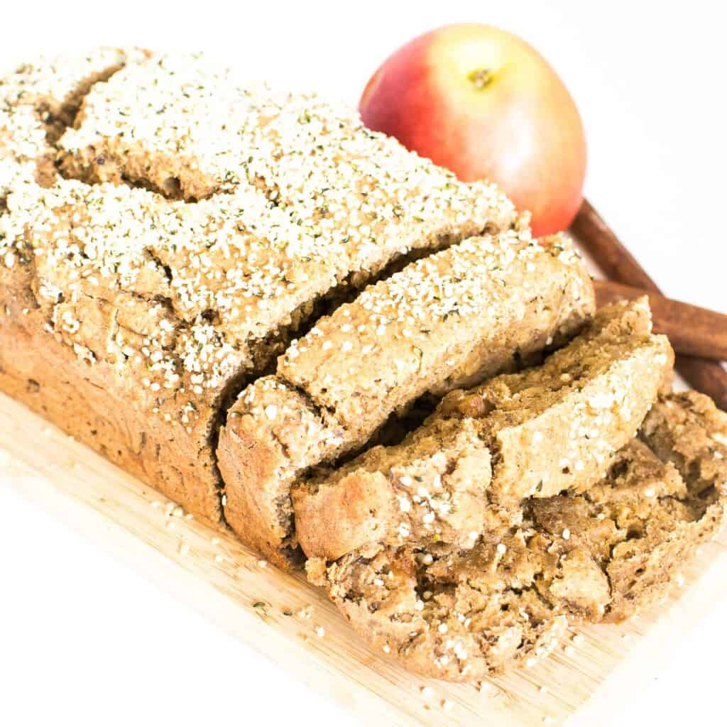 a close view of sliced applesauce bread.
