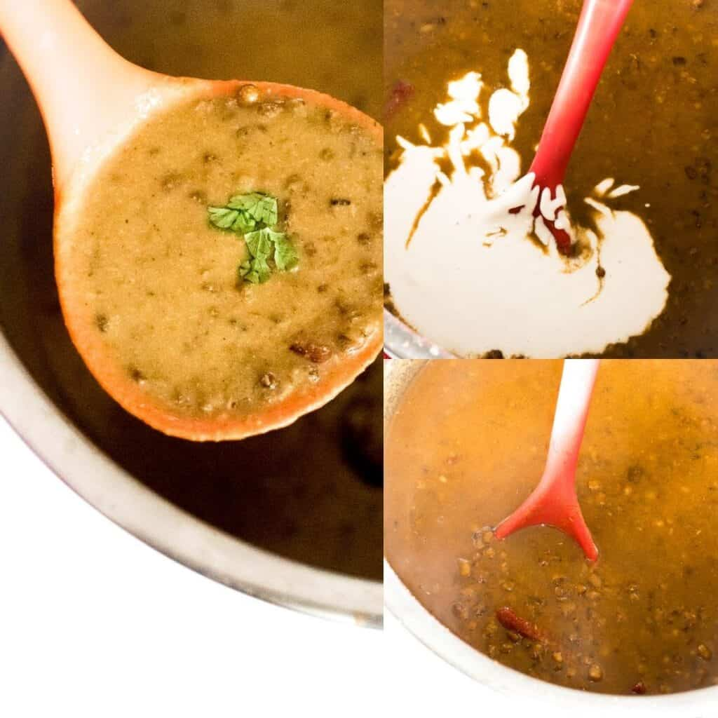 steps to garnish and serve dal makhani.