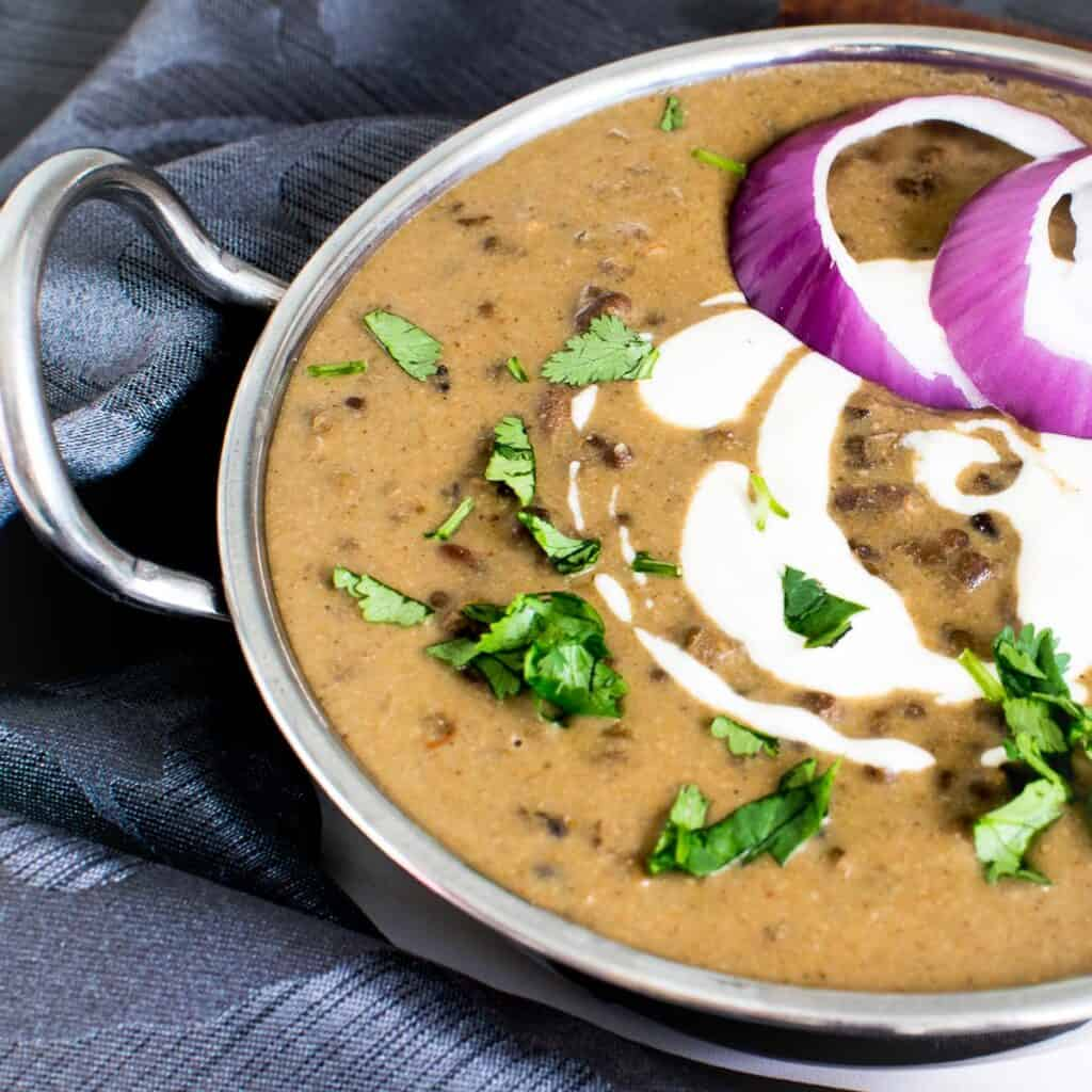 a 45 degree angle view of dal makhani.