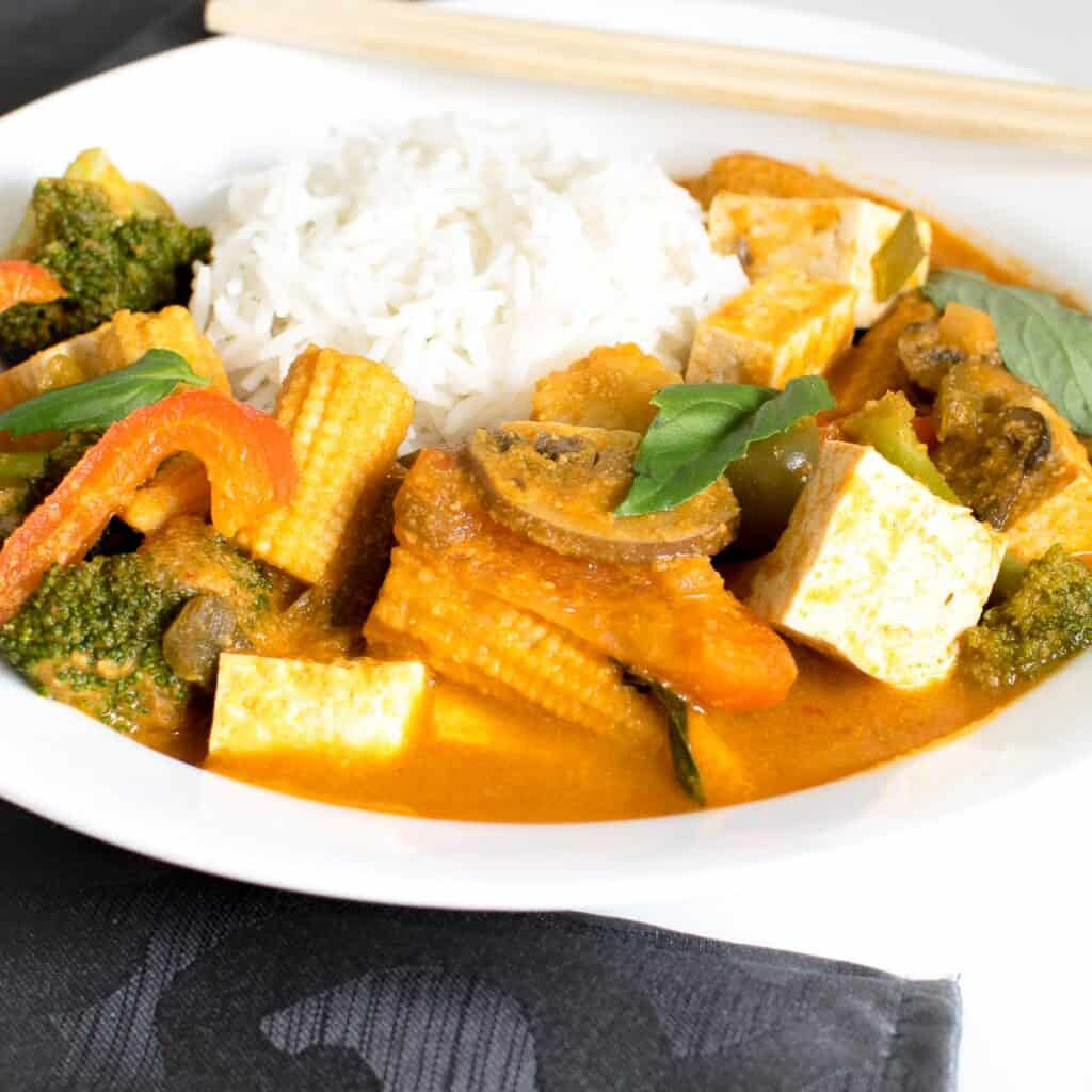 a 45 degree angle view of Thai red curry vegetables