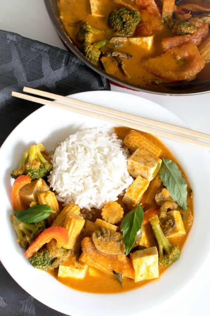 top view of the served Thai red curry vegetables.