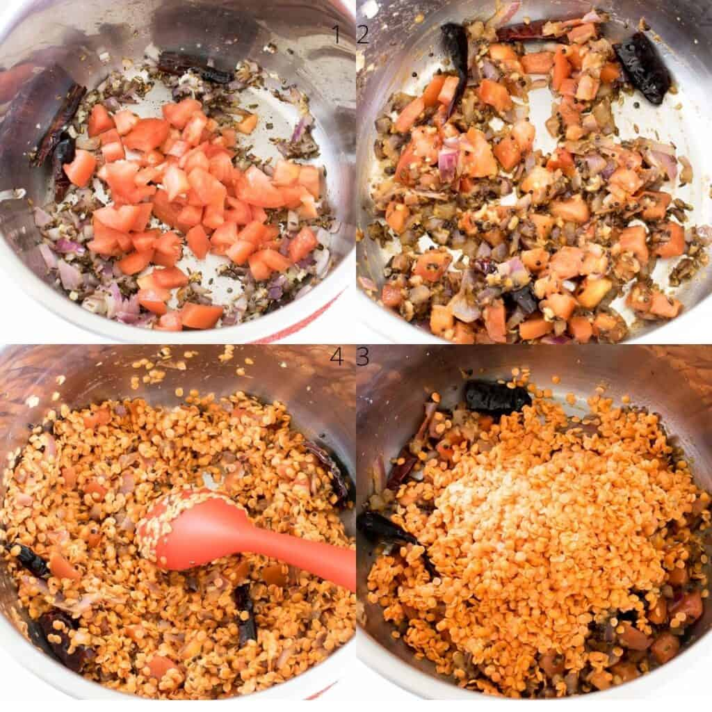 steps to cook tomatoes and lentils.