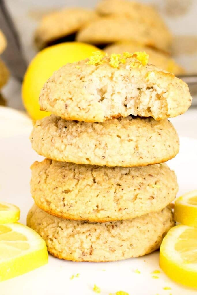 a front view of half eaten vegan lemon cookies.