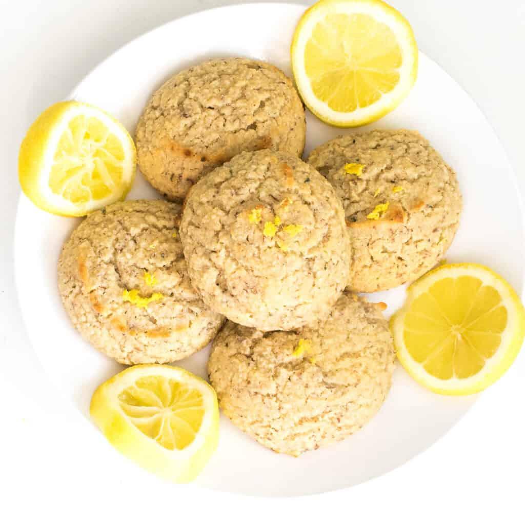 top view of loaded vegan lemon cookies  on a plate.