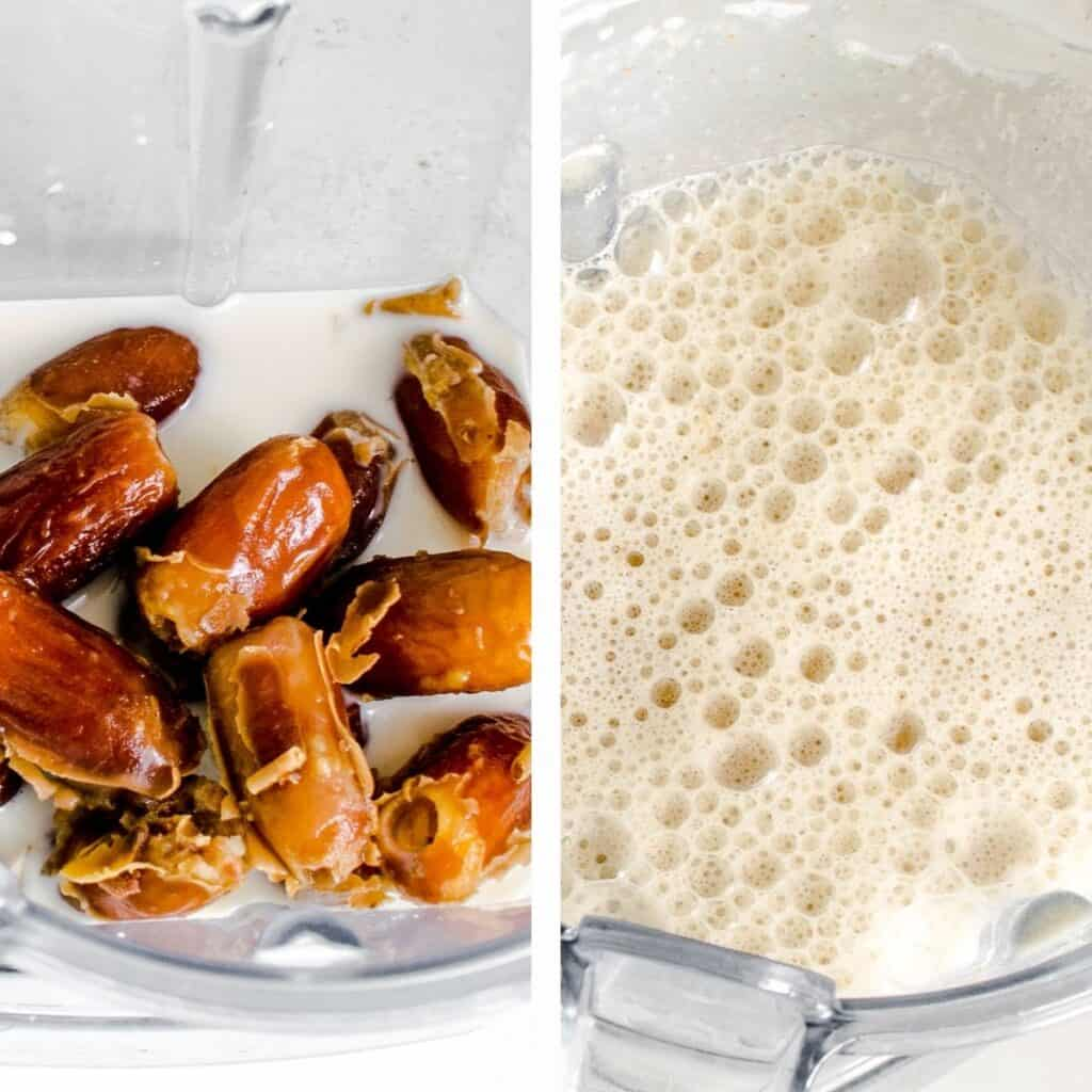 steps to blend oat milk and dates.