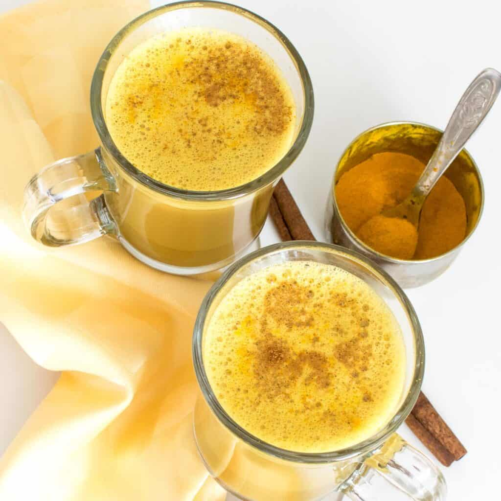 top view of served turmeric latte.