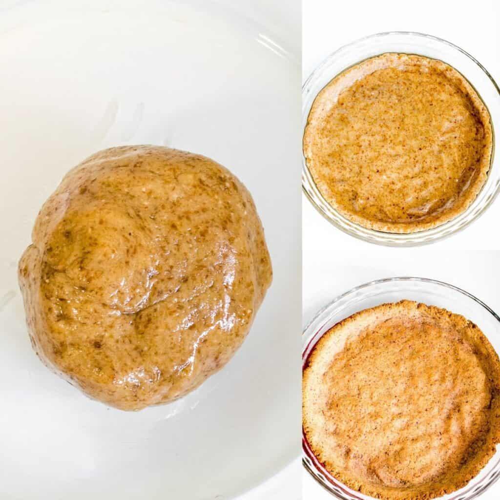 steps to knead, shape and bake the crust.