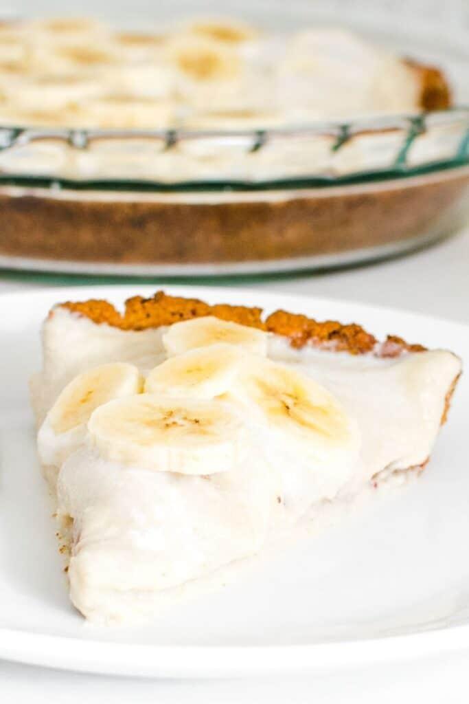 a close up view of vegan banana cream pie.