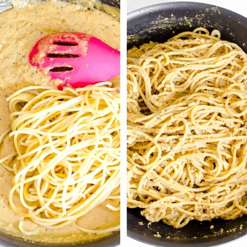steps to toss pasta.