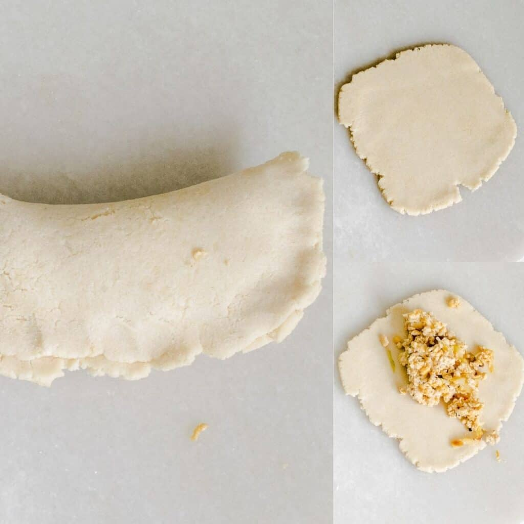steps to make the wrapper and stuff it with the filling.