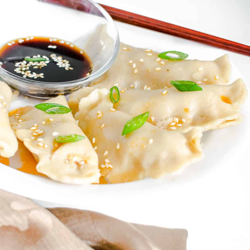 a front view of vegan dumplings on a serving plate with the garnishes.
