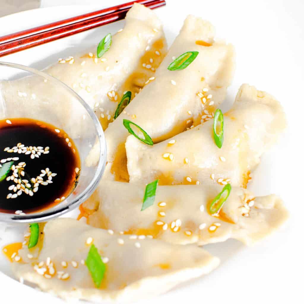 a close up view of vegan dumplings.