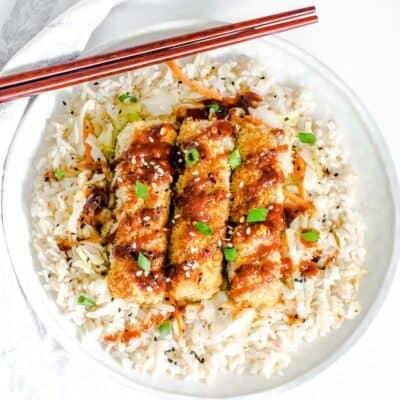 top view of tofu katsu served