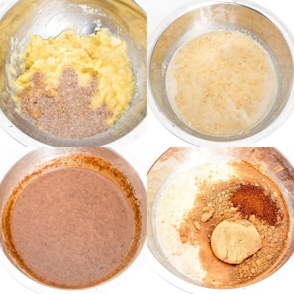 steps to make chocolate batter.