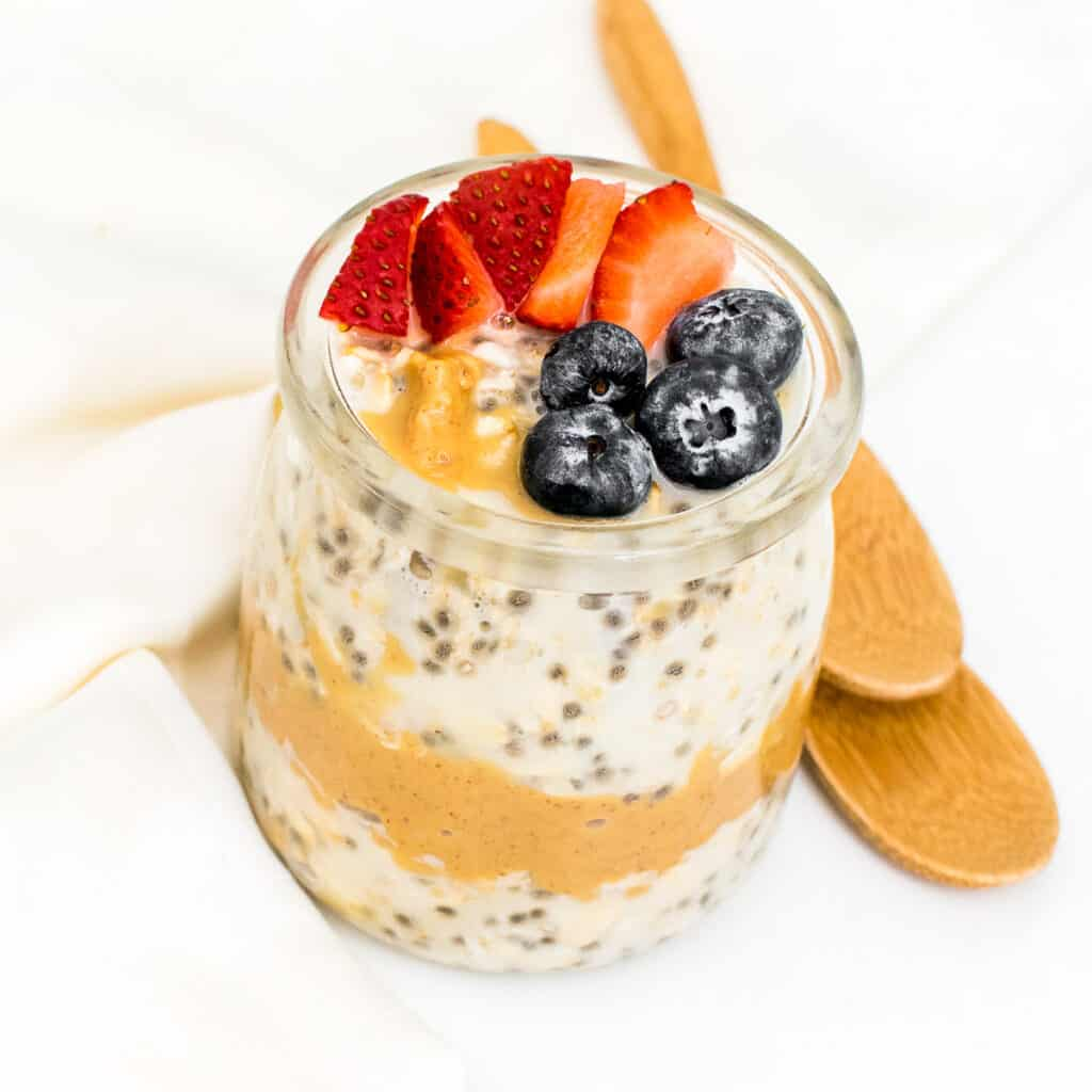 top view of peanut butter overnight oats.