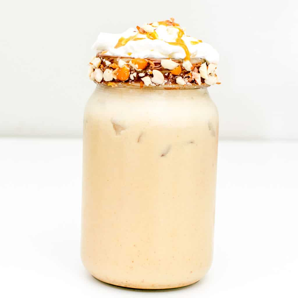 a front view of peanut butter milkshake.