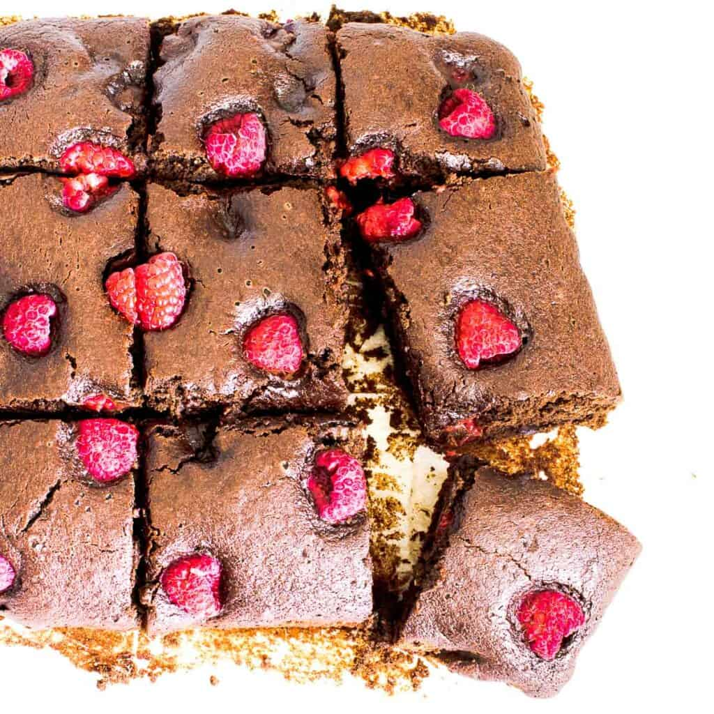 top view of sliced raspberry brownies.