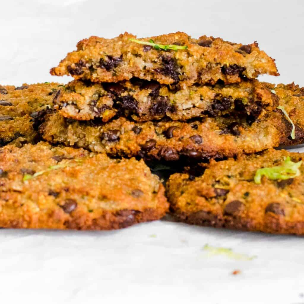 half broken zucchini chocolate chip cookies.