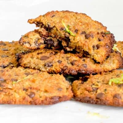 a front view of broken zucchini chocolate chip cookies on its stack.