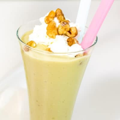 a close up view of avocado milkshake
