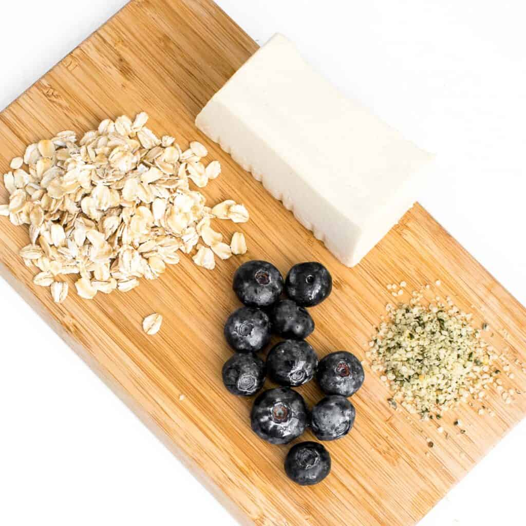 top view of the ingredients on a wooden board.