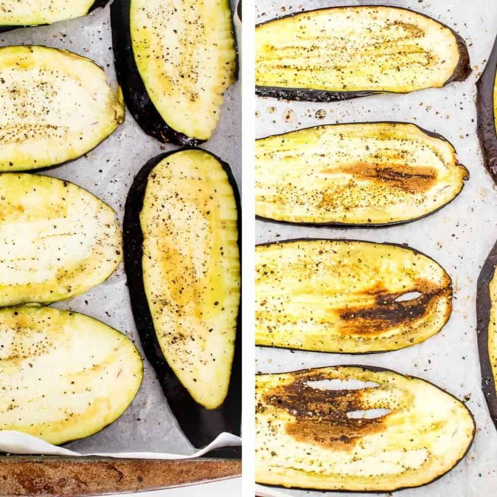 steps to roast eggplants.